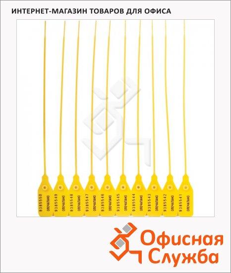 Пломба пластиковая номерная желтые, 220мм, 50шт