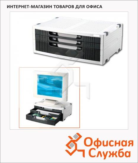 фото: Подставка для принтера или монитора Brauberg 380х275х150мм с 1 полкой и 3 ящиками