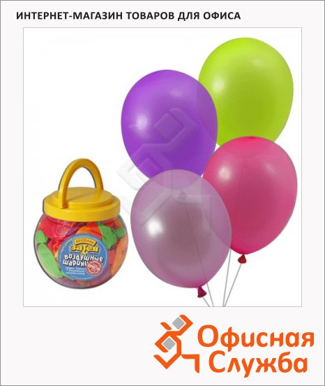 фото: Воздушные шары Веселая Затея 12 неоновых цветов 25см, 200шт, в банке, 1110-0000