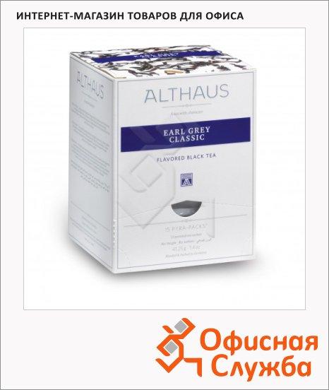 Чай Althaus Earl Grey Classic, черный, листовой, в пирамидках, 15 пакетиков