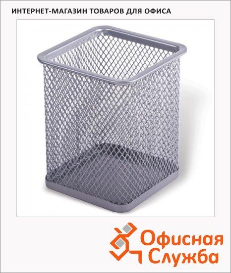 фото: Подставка для ручек 100х65х65мм серебристая, 22504