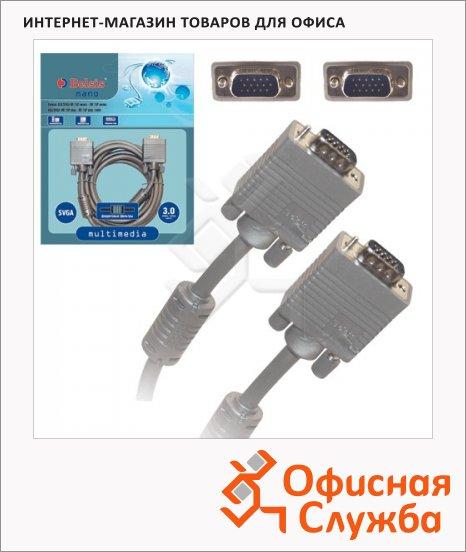Кабель мониторный Belsis VGA-VGA (m-m) 3 м, 2 фильтра