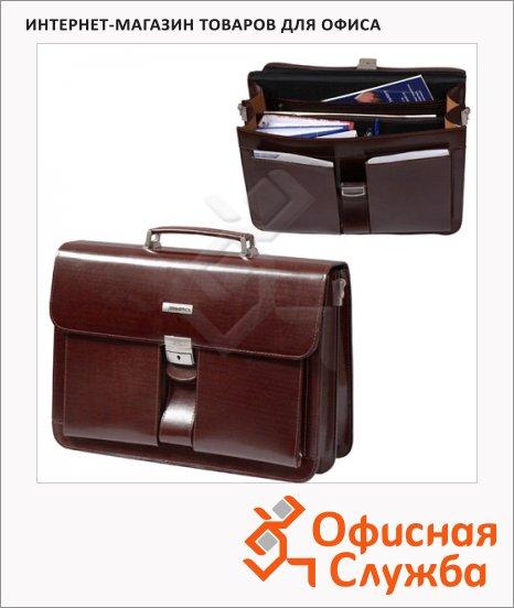 фото: Портфель Alliance 300х420х100мм коричневый, натуральная кожа