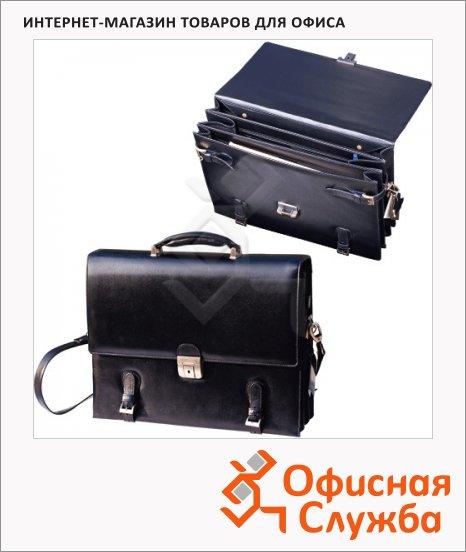 Портфель 330х250мм, чёрный, натуральная кожа