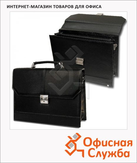 фото: Портфель Alliance 360х270х80мм черный, искусственная кожа