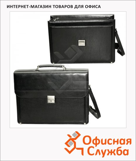 Портфель Alliance 310х420х140мм, черный, кожзам