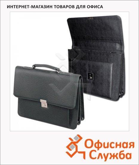 Портфель Алекс Проект-200 380х285х100мм, черный, кожзам