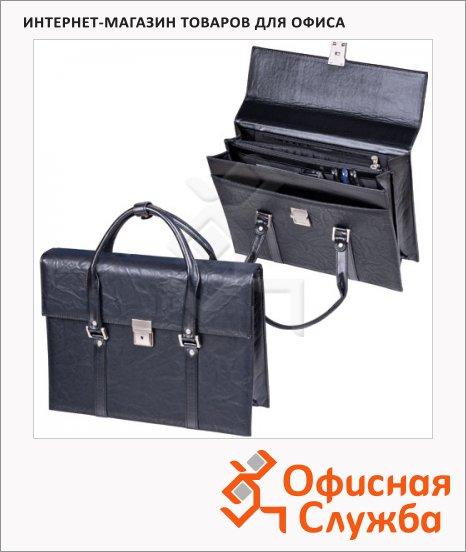 Портфель-сумка женская Alliance 360х270х100мм, черная, искусственная кожа