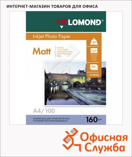 Фотобумага для струйных принтеров Lomond А4, матовая, 100 листов, 160 г/м2, 102005