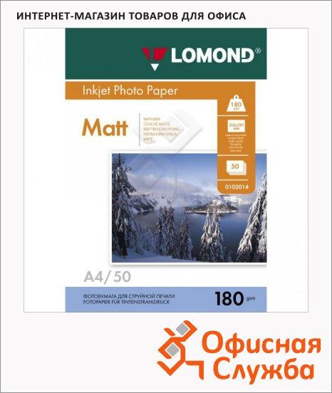 Фотобумага для струйных принтеров Lomond А4, 50 листов, 180 г/м2, матовая, 102014