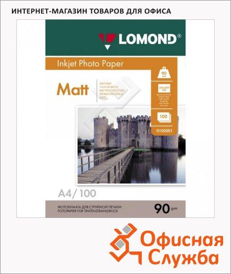 Фотобумага для струйных принтеров Lomond А4, матовая, 100 листов, 90г/м2, односторонняя, 102001