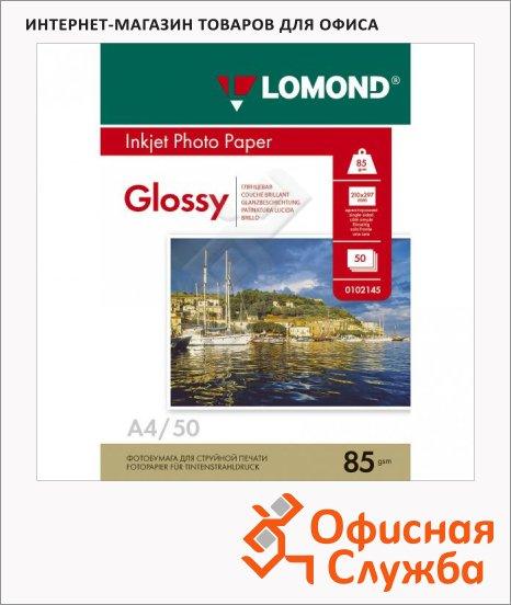 Фотобумага для струйных принтеров Lomond А4, 100 листов, 85г/м2, глянцевая, 102145