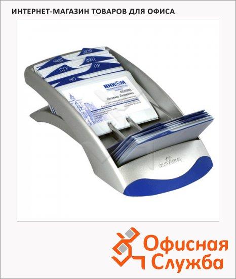 Картотека для визиток Durable Visifix Desk на 200 карточек, 245х131х67мм, сине-серебристая, 2413-23