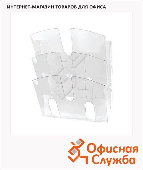 фото: Лоток навесной для бумаг Uniplast 3 отделения А4, 290x215x32мм, прозрачная
