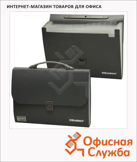 Портфель пластиковый Brauberg Comfort черный, 13 отделений