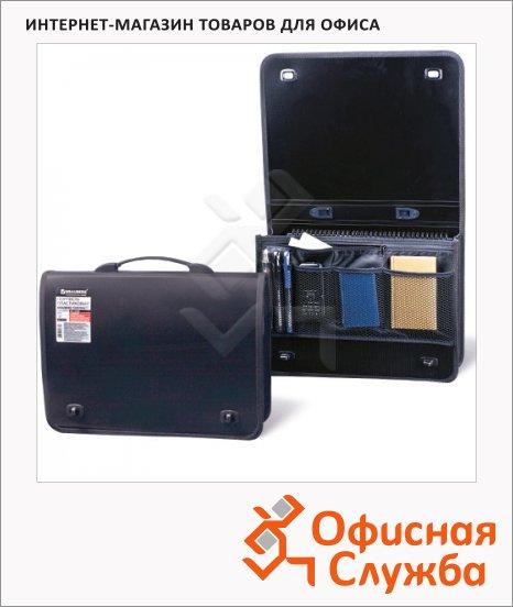 Портфель пластиковый Brauberg Contract черный, 1 отделение, 2 накладных кармана