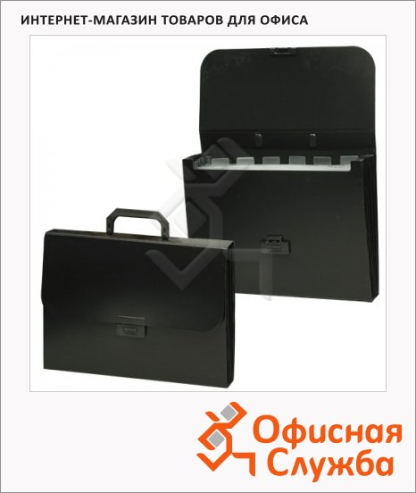 фото: Портфель пластиковый Brauberg Energy черный 330х256х32мм, 6 отделений