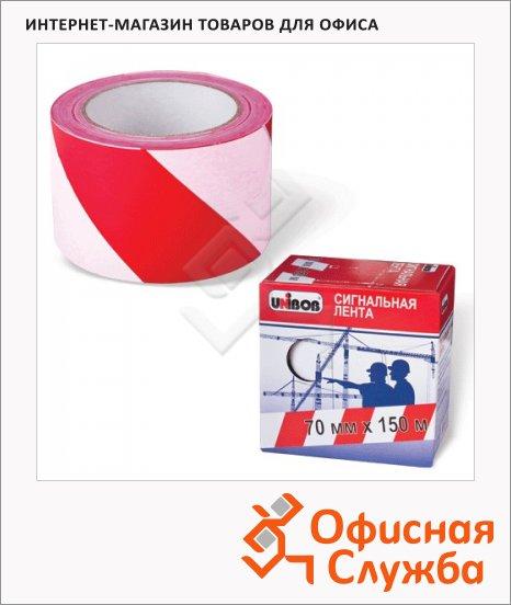 Лента сигнальная Unibob 70ммх150м, красно-белая