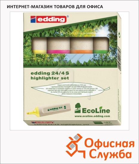 Текстовыделитель Edding ECO 24 набор 4 цвета, 1-5мм, скошенный наконечник