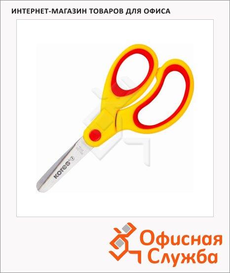 Ножницы детские Kores Softgrip 13см, желто-красные, эргономичные ручки, 35217