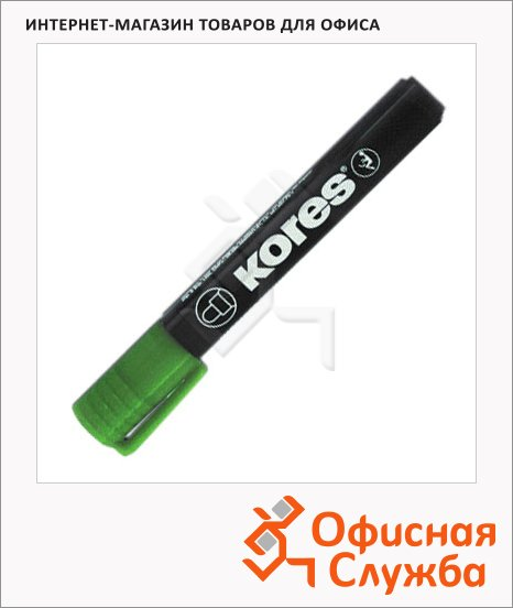 Маркер перманентный Kores зеленый, 1.5-3мм, круглый наконечник