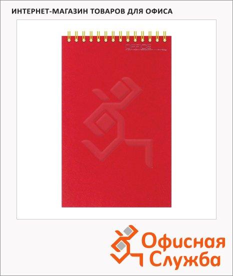 Блокнот Attache бордовый, А6, 50 листов, в клетку, на спирали, картон