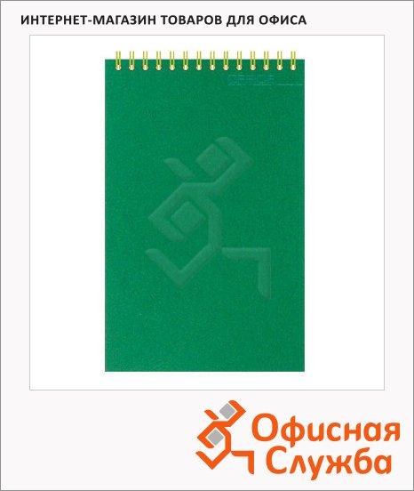 фото: Блокнот Attache зеленый А6, 50 листов, в клетку, на спирали, картон