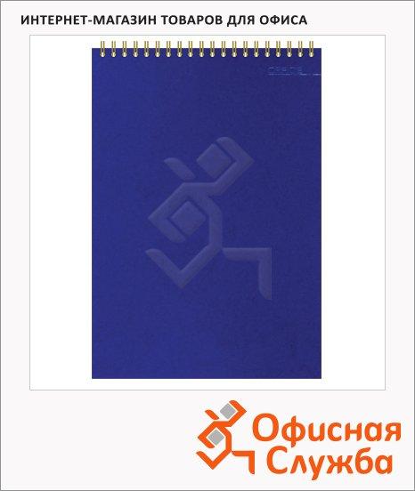 фото: Блокнот Attache синий А6, 50 листов, в клетку, на спирали, картон