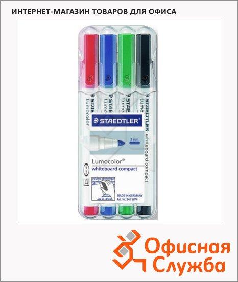 Маркер для досок Staedtler Lumocolor Compact 341, 1-2мм, овальный наконечник, 1-2мм, овальный наконечник, 4 цвета