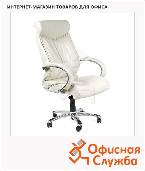 Кресло руководителя Chairman 420 нат. кожа, крестовина хром, белая