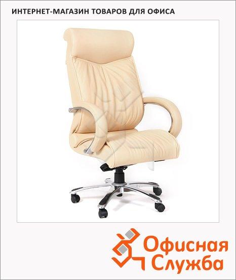 Кресло руководителя Chairman 420 нат. кожа, крестовина хром, бежевая
