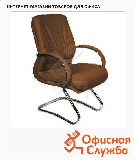 Кресло посетителя Chairman 445 нат. кожа, на полозьях, коричневая