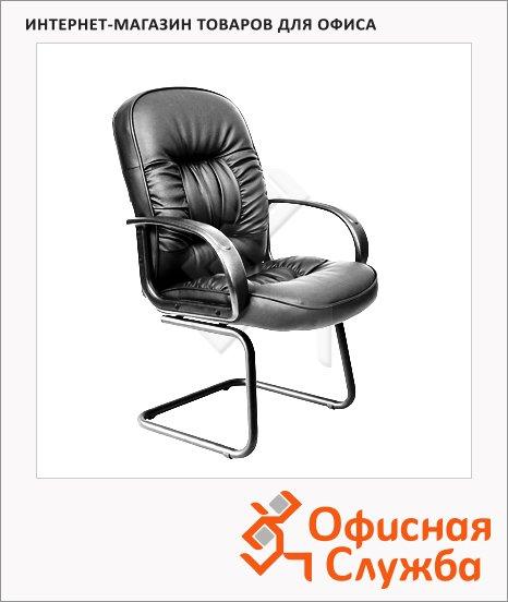 Кресло посетителя Chairman 416 V иск. кожа, на полозьях, черная, глянцевая