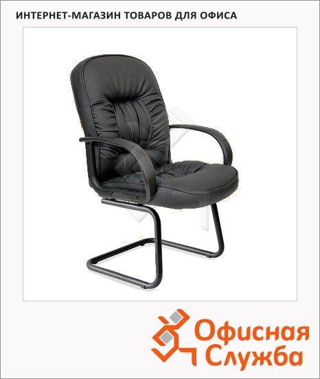 Кресло посетителя Chairman 416 V иск. кожа, черная, на полозьях, эко, матовая