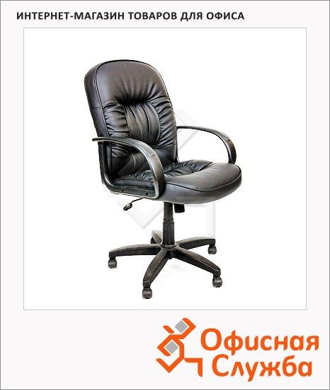 фото: Кресло руководителя Chairman 416-M иск. кожа черная, крестовина пластик, низкая спинка, глянцевая