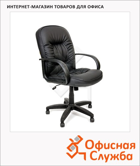 Кресло руководителя Chairman 416-M иск. кожа, черная, крестовина пластик, низкая спинка, матовая