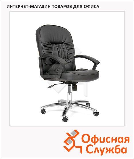 фото: Кресло руководителя 418-M иск. кожа черная, матовая, крестовина хром, низкая спинка
