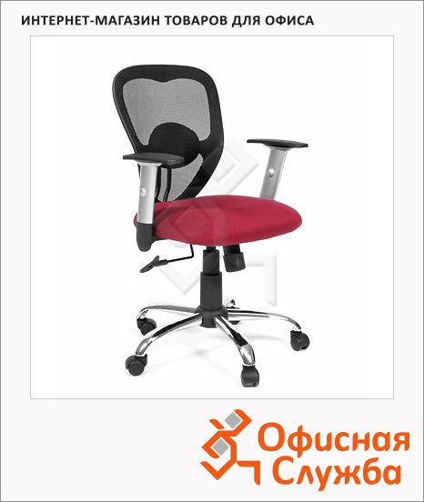 фото: Кресло офисное Chairman 451 ткань TW, крестовина хром, бордовая