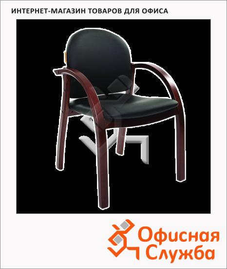 фото: Кресло посетителя Chairman 659 иск. кожа черная, матовая, terra 118, на ножках, темный орех