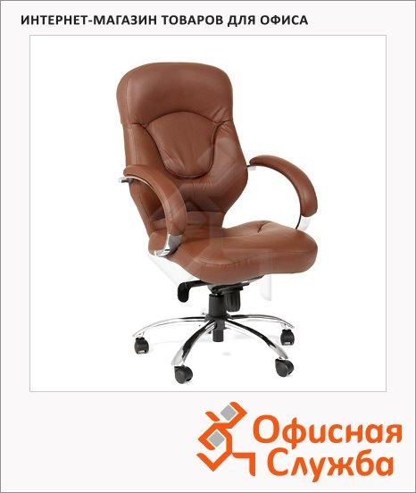Кресло руководителя Chairman 430 нат. кожа, крестовина хром, коричневая