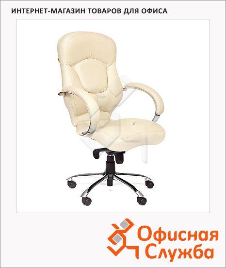 Кресло руководителя Chairman 430 нат. кожа, крестовина хром, белая