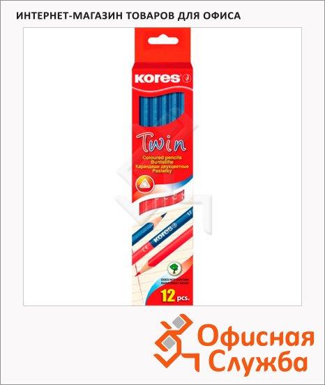 фото: Карандаш двухцветный Kores 2 цвета трехгранный, двусторонний