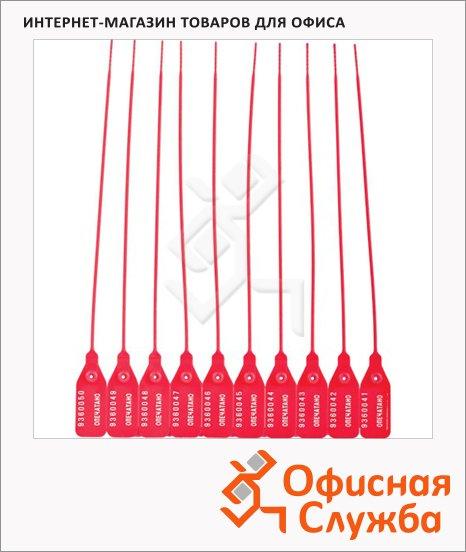 Пломбы пластиковые номерные красные, 255мм, 50шт
