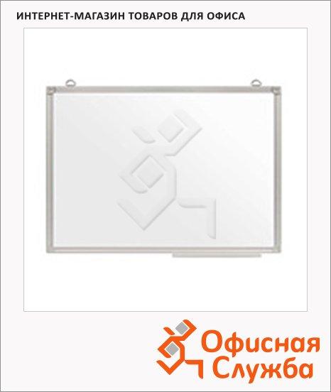 фото: Доска магнитная маркерная Эконом 100х150см белая, лаковая, полочка, алюминиевая рама