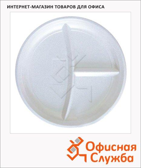 Тарелка одноразовая Комус d=21см, белая, 3 секции, 100шт/уп