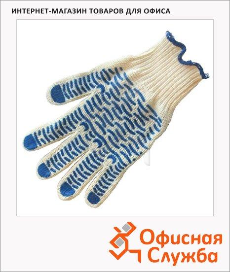 Перчатки трикотажные Волна синие, с ПВХ