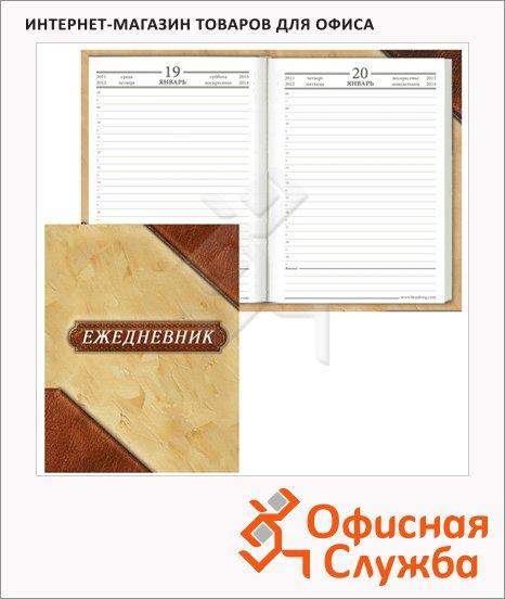 Ежедневник полудатированный Brauberg бежево-коричневый, А6, 208 листов