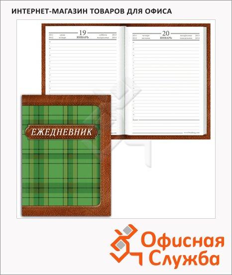 Ежедневник полудатированный Brauberg зеленая шотландка, А6, 208 листов