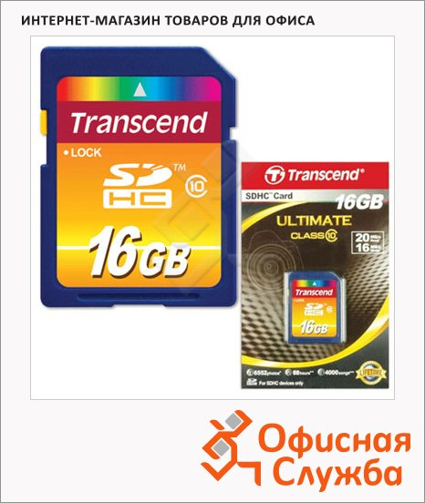 Карта памяти Transcend SDHC, 16Gb, class 10