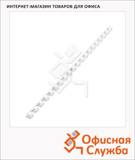 Пружины для переплета пластиковые Fellowes белые, на 40-70 листов, 10мм, 100шт, кольцо, FS-53458